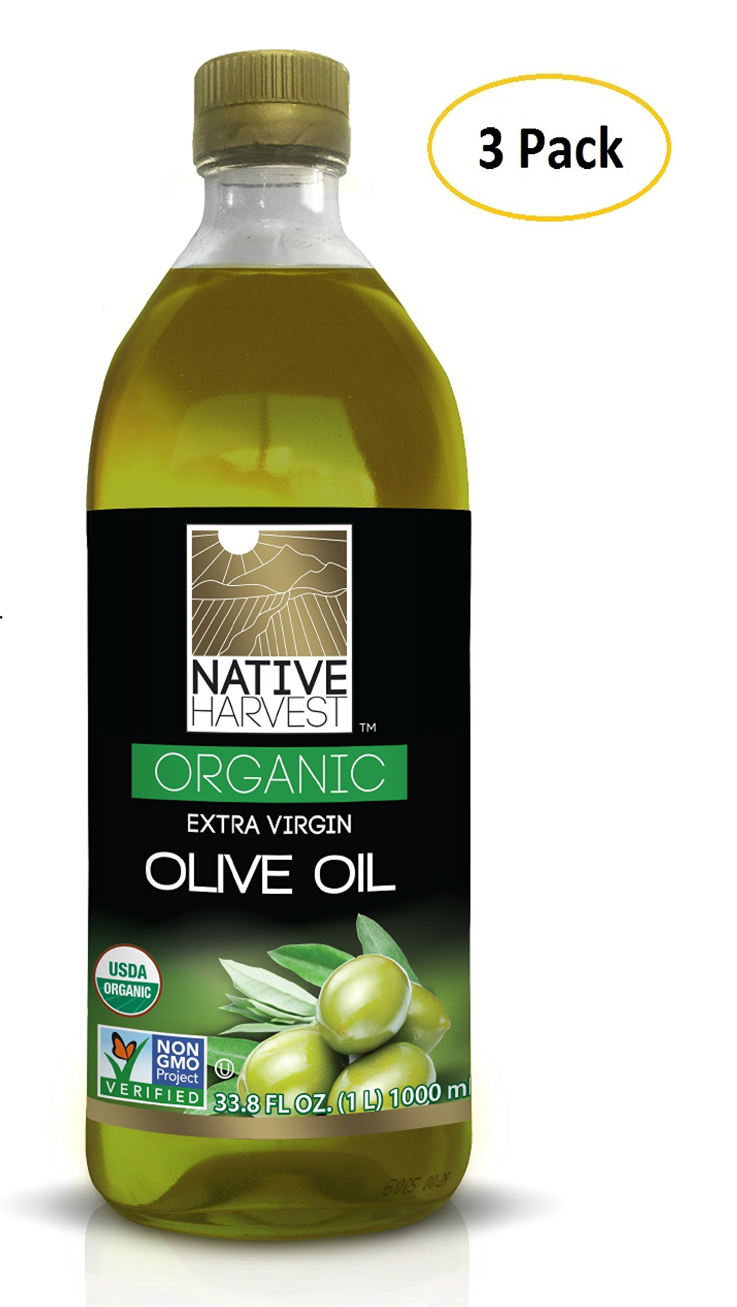 Native Harvest Organic Non-GMO Naturally Expeller Pressed Sunflower Oil, 1 Litre (33.8 FL OZ) 3 Packs