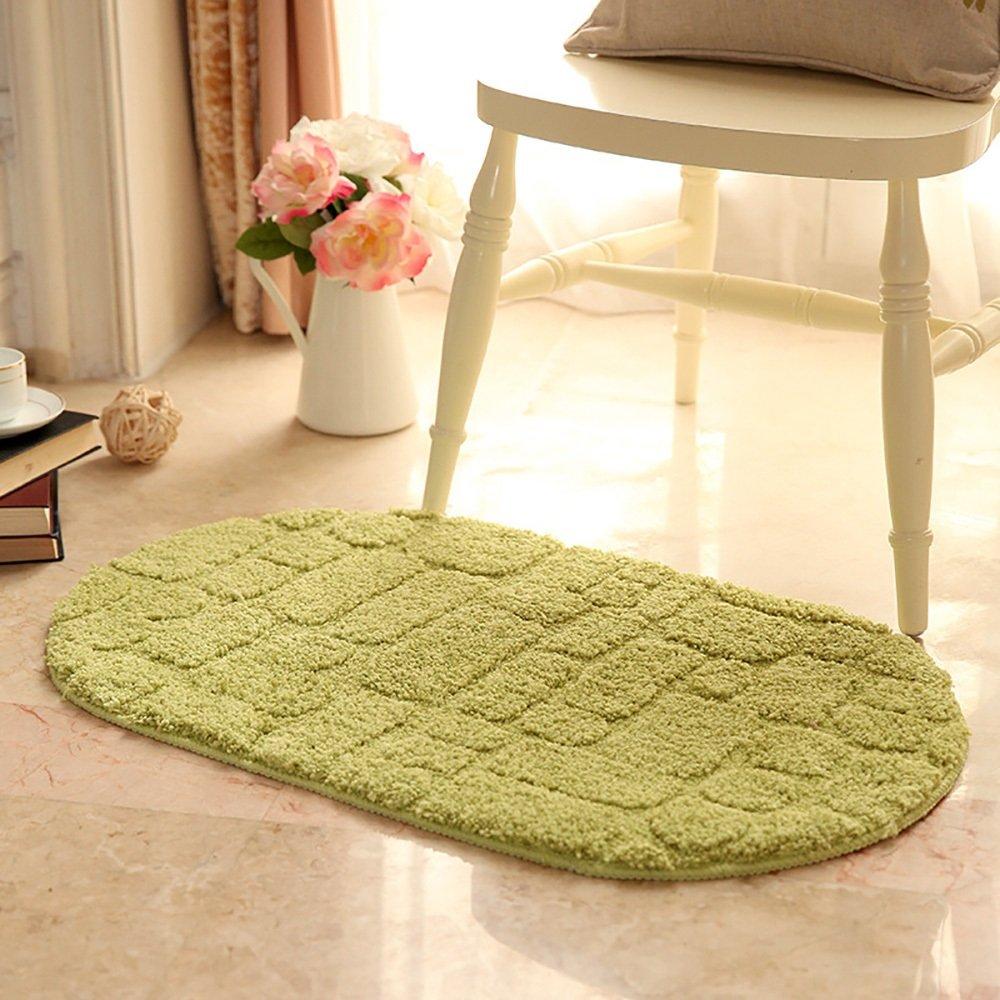 Color : Green , Size : 5080 oval Carpet rug Microfiber semicircle oval mats romantic pastoral style bedroom living room floor mats design pattern