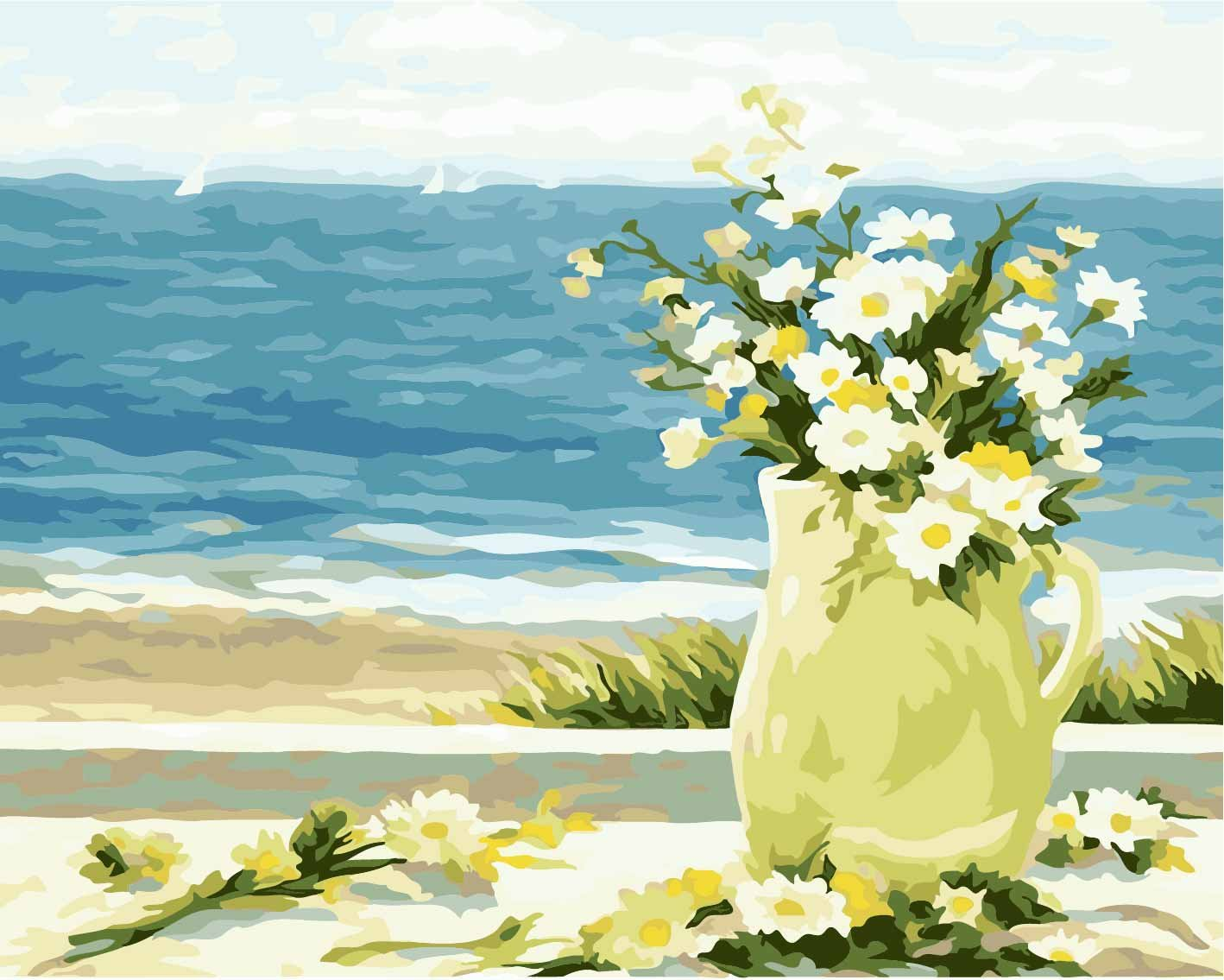 DIY Pre-Printed Canvas Oil Painting Gift for Adults Kids Paint by Number Kits With Wooden Frame for Home Decor - Seagull and Sea 16*20 inch NCFDBL