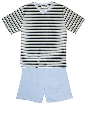 adonia mode Herren Shorty Baumwolle Pyjama Schlafanzug Nachtwäsche  Sleepware T-Shirt und Hose Kurz-Arm Rundhals, Gr.48 50-56 58  Amazon.de   Bekleidung 9ec1fcdd92