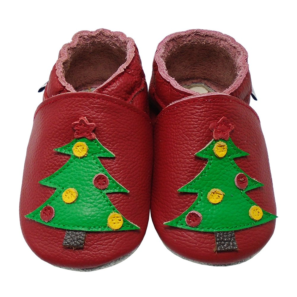 Mejale Baby Infant Toddler Leather Shoes Soft Sole First Walking Moccasins Christmas Tree Slippers