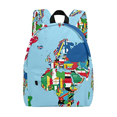 Amazon Com Lorvies The World Map And Flags Lightweight School