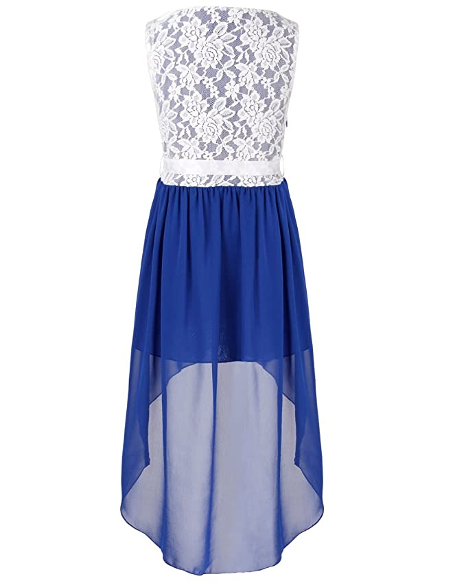 iEFiEL Girls Kids Floral Lace High Low Chiffon Formal Evening Wedding Birthday Party Princess Flower Dress: Amazon.co.uk: Clothing
