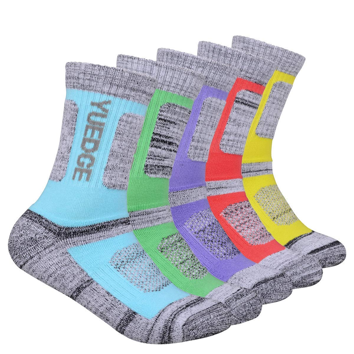 YUEDGE 5 Pairs Women's Wicking Cushion Crew Multi Performance Outdoor Hiking Socks by LECIEL