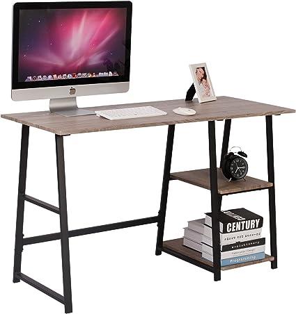Woltu Tsg25gr Bureau D Ordinateur Avec 2 Etageres Table De Bureau Table De Travail En Bois Et Acier 120x50x73cm Lxpxh