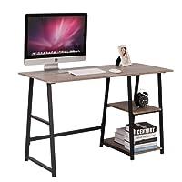 WOLTU Schreibtisch TSG25gr Computertisch Bürotisch Arbeitstisch PC Laptop Tisch, mit 2 Ablagen, aus MDF und Stahl, 120x50x73cm(BxTxH)