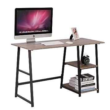 WOLTU Escritorio Mesa de Trabajo Mesa de Oficina Mesa de Ordenador portátil con 2 estantes, de Madera y Acero 120x50x73cm Gris TSG25gr: Amazon.es: Hogar