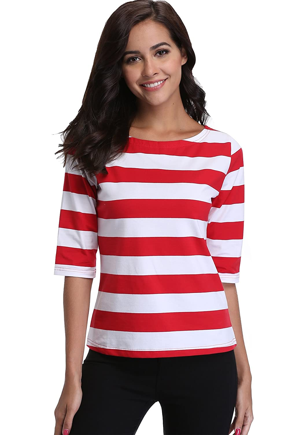 Miss Moly Womens Shirts and Blouses Striped Casual Tops Ladies Tunic Short Sleeves Classic Boat Neck Basic Contrast Color