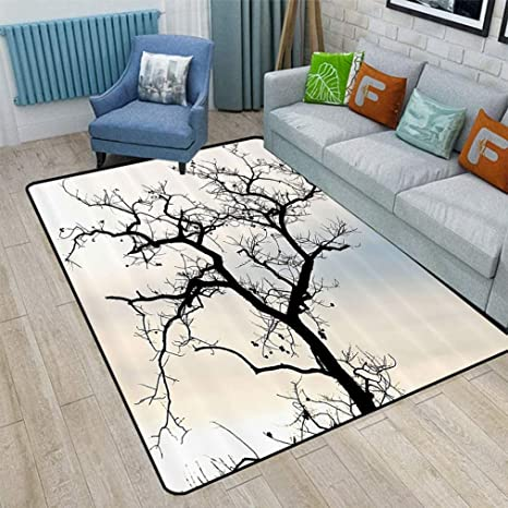 Woodsy Decor Large Area Rugs A Lonely Tree In Fall Black Branches With Abstract Art Falling Leaves Theme Personalized Carpet For Living Room Home 6 X 8 Ombre Blue Beige Kitchen