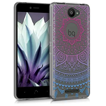 kwmobile Funda para bq Aquaris U Lite - Carcasa de [TPU] para móvil y diseño de Sol hindú en [Azul/Rosa Fucsia/Transparente]