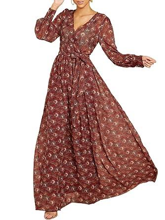 4d69868b28 Ybenlow Womens Boho Floral Chiffon Deep V Neck Wrap Long Sleeve Flowy Party Maxi  Dresses with