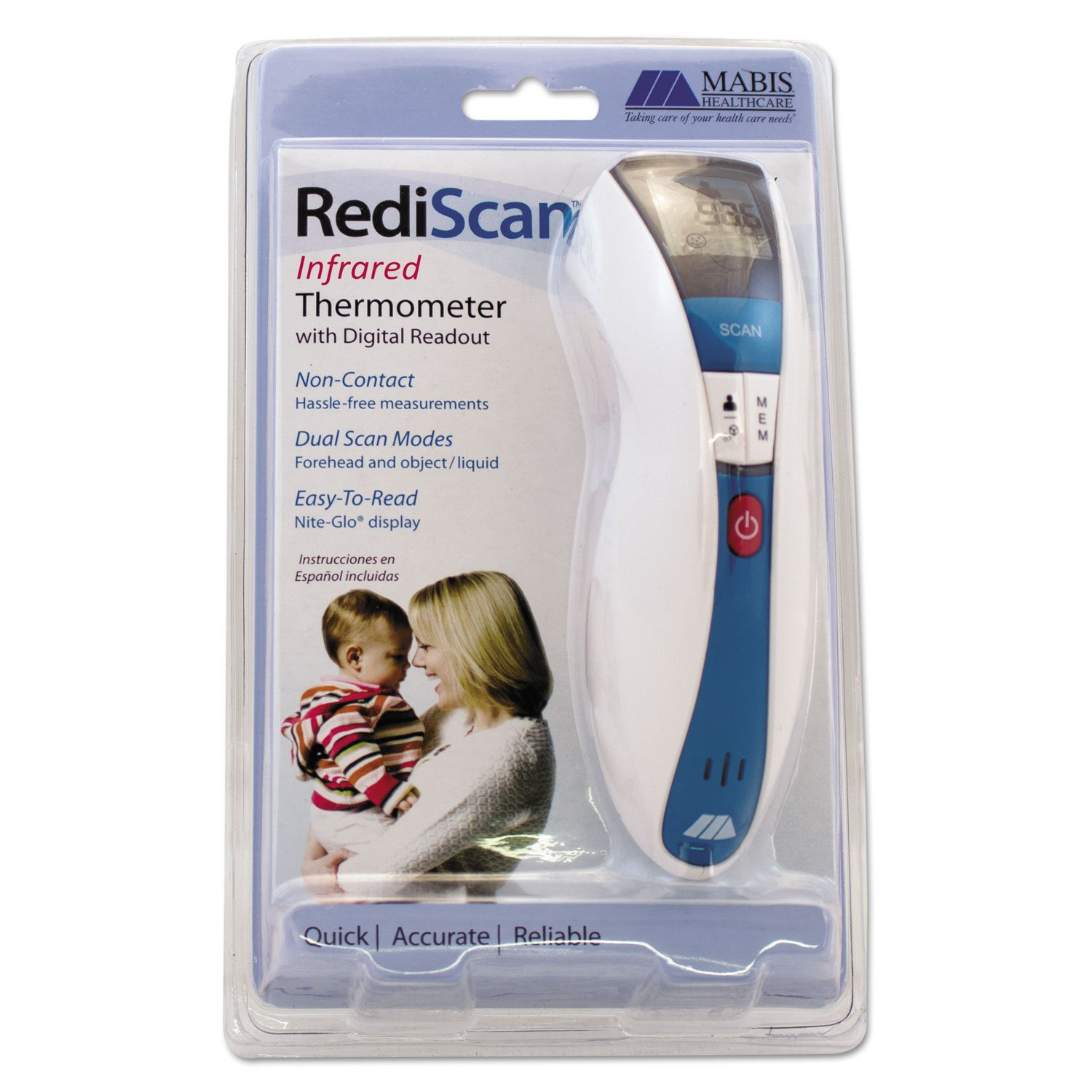 Amazon.com: MABIS 18535000 RediScan Infrared Thermometer w/Digital Readout White/Blue 50F-122F: Health & Personal Care