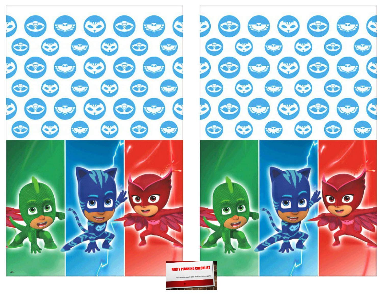2 Pack - PJ Masks Party Plastic Table Cover 54 x 96 inches (Plus Party Planning Checklist by Mikes Super Store)