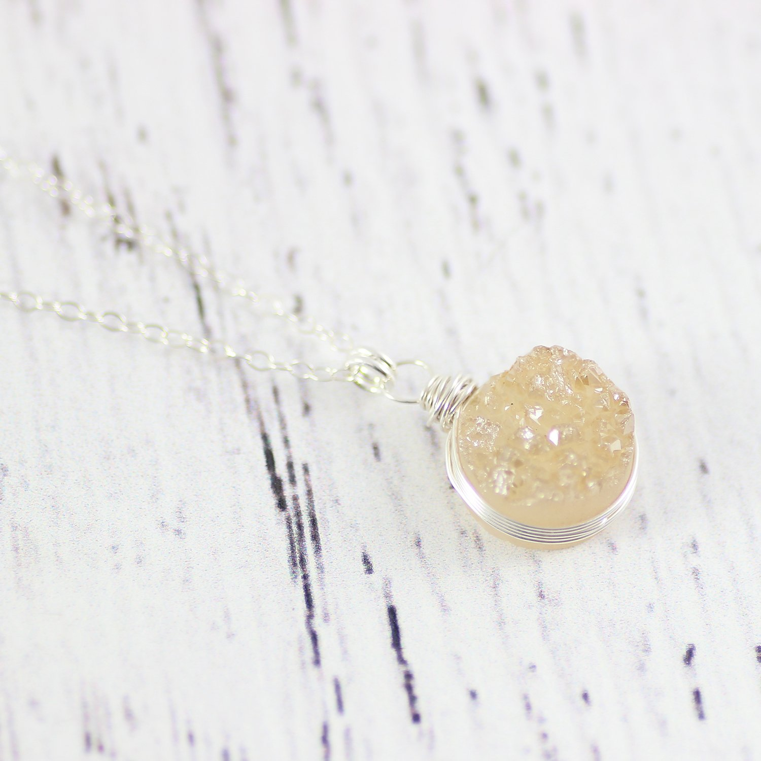 Light Champagne Druzy Sterling Silver Circle Necklace - 18 Length