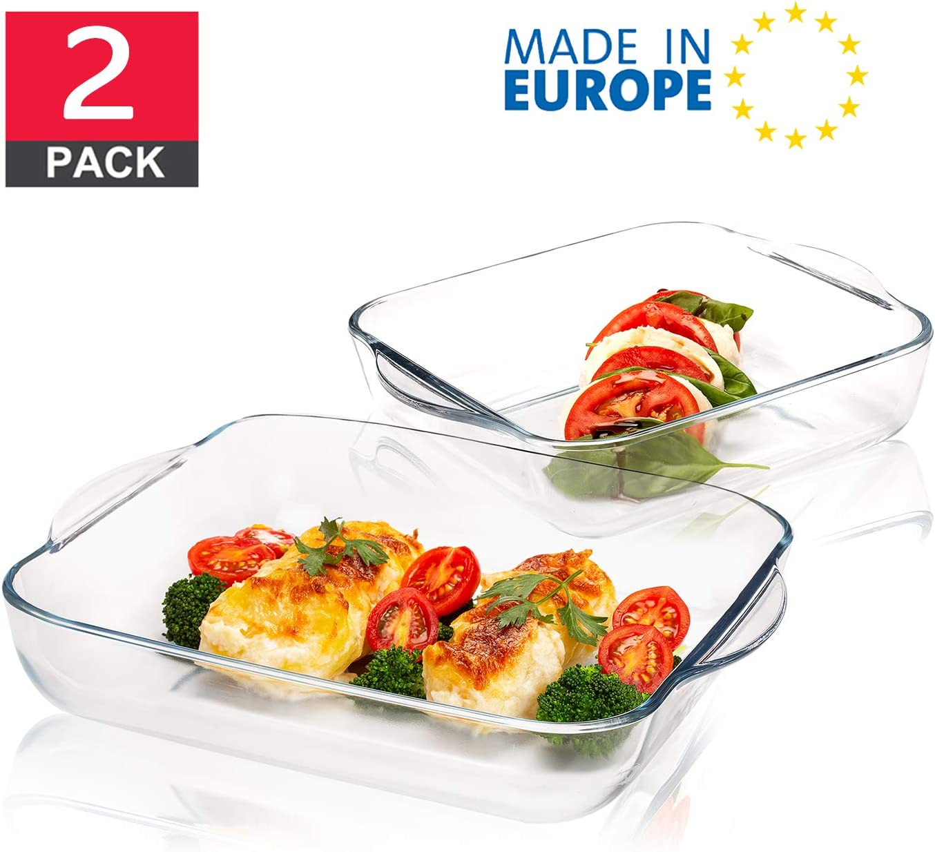 Glass Baking Dish for Oven, Casserole Dish, Square Baking Trays for Oven, Borosilicate Glass for Baking, Set of 2 PCs