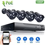 JOOAN 1080P HD POE Home Security Camera System 2MP IP CCTV Outdoor Camera Monitor Complete Surveillance Network Camera System Home Video Bullet Camera with 4CH NVR KIT