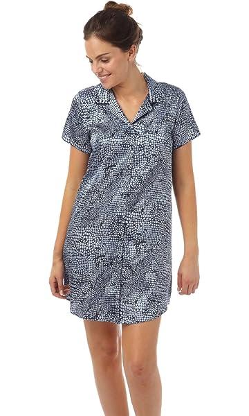 Black Pinstripe Ladies Button Front Satin Night Shirt Size 10-20