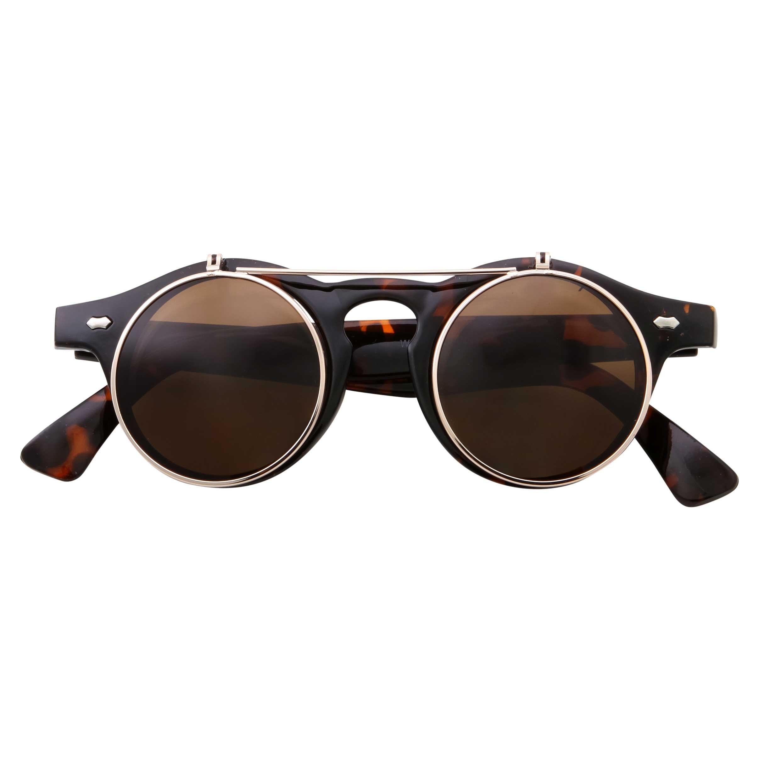 Steampunk Tortoise Goggles Glasses Flip Up Round Sunglasses Emo Retro Vintage