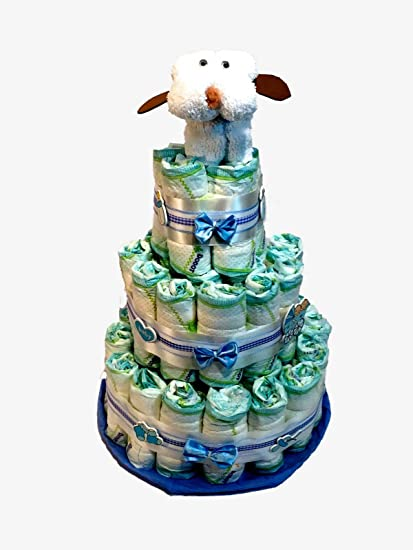 Tarta de pañales DODOT perrito toalla blanco y azul: Amazon.es: Bebé