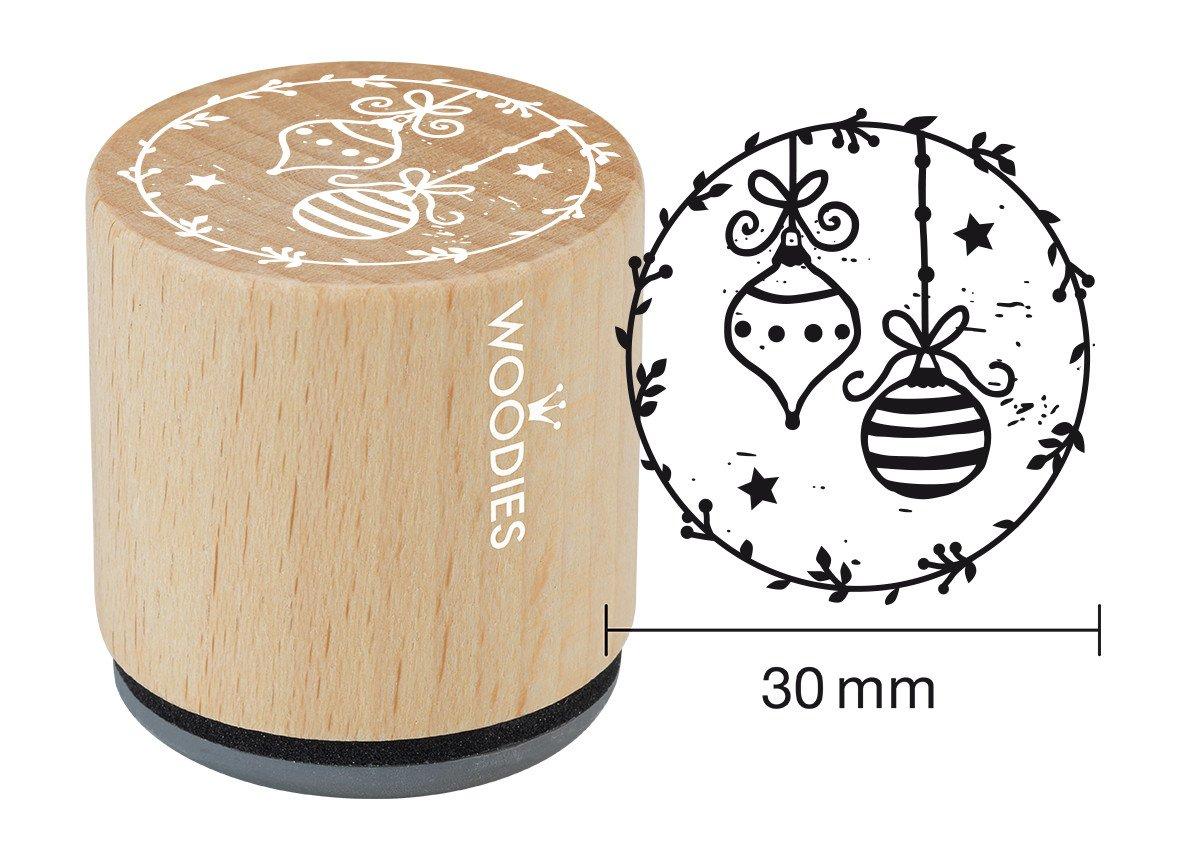 Weihnachts-Tema Holz Woodies Tampone 3,4 x 3,4 x 3,5 cm Auto mit Weihnachtsbaum 3,4 x 3,4 x 3,5 cm braun