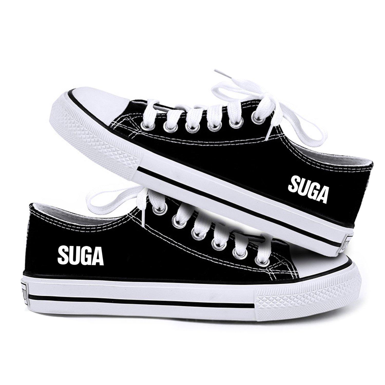 Kpop BTS Sneakers Bangtan Boys SUGA Jimin J-Hope JIN V Black Canvas Shoes