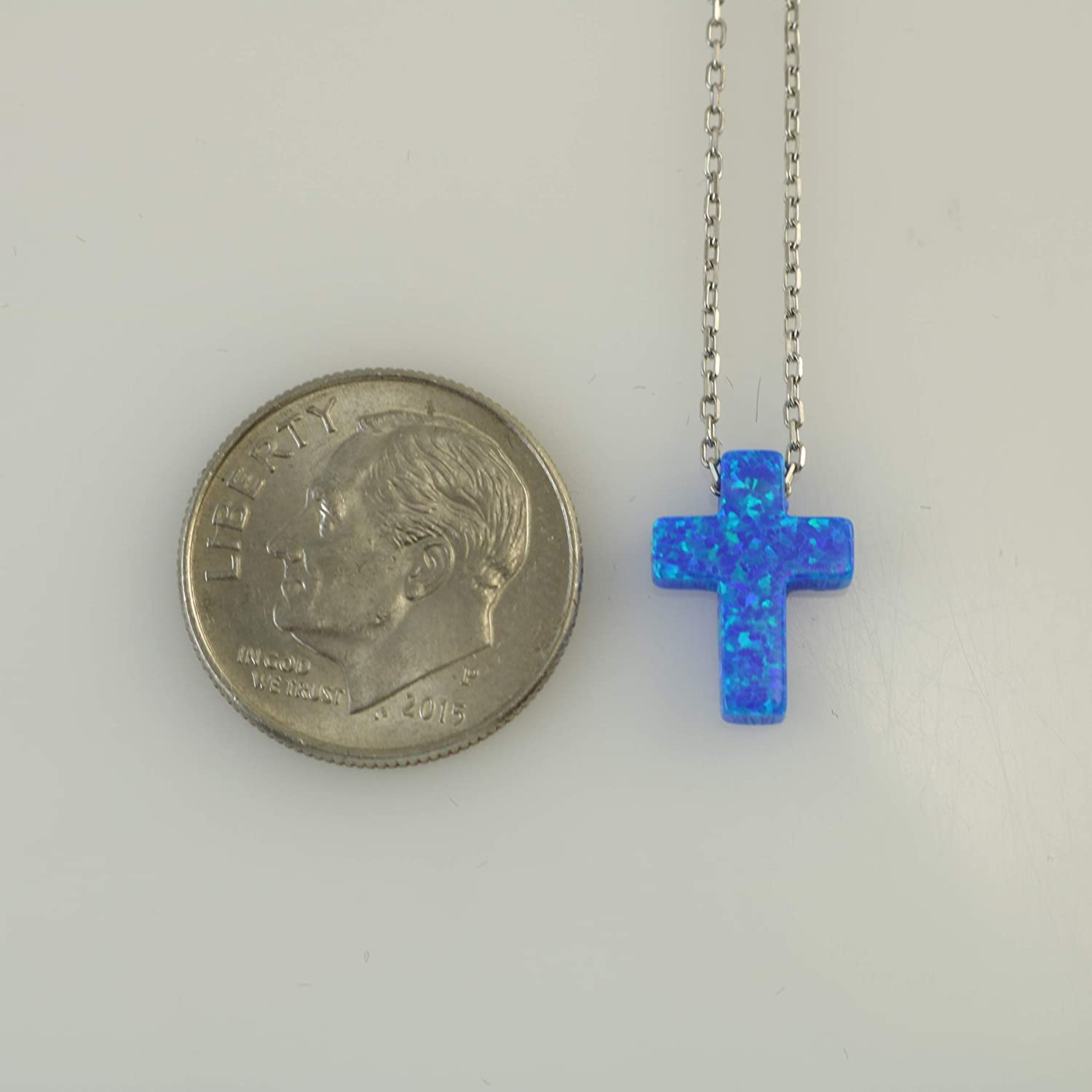 Tiny Dark Blue Opal Cross Pendant Necklace Religious Jewellery with 39.5cm-44cm 15.5-17.3 inches Sterling Silver Adjustable Chain by Handmade Studio