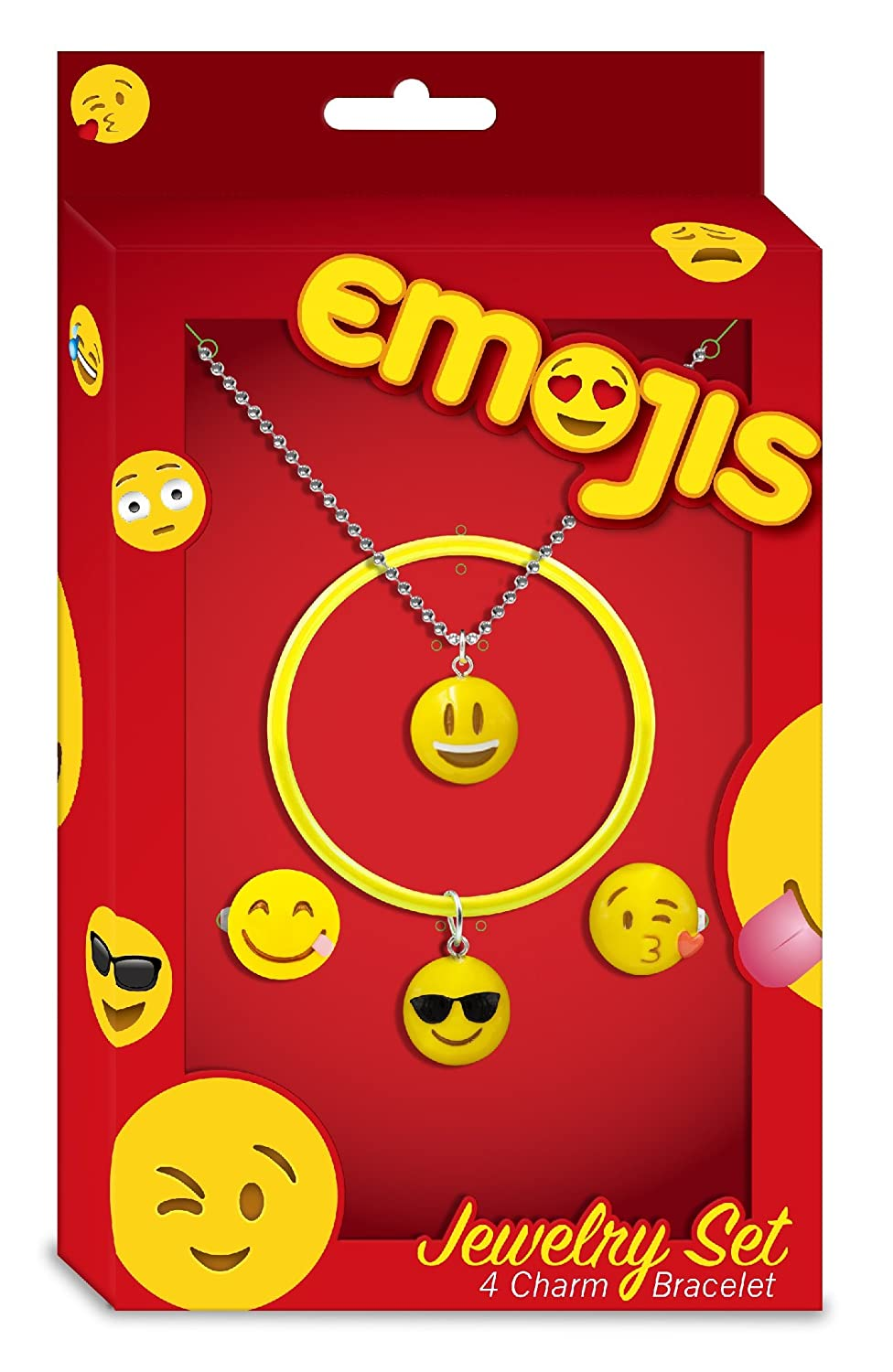 and Pendants Perfect for Holiday Gifts Emojis Jewelry Sets with Interchangeable Charm Bracelets Rings