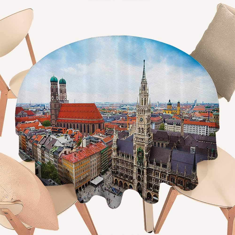 Dragonhome Modern Simple Round Tablecloth City Centre of Marienplatz New Town Hall Glockenspiel cade Rooftop Sightseeing for Kitchen, 35 INCH Round