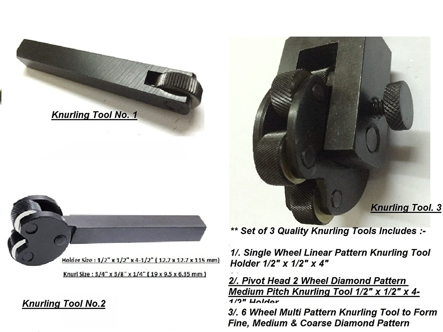 """1 Wheel Knurl Straight Linear Knurling Tool Holder Size 3//4/"""" x 3//4/"""" x 5/"""" Inches"""