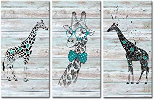 """DekHome Funny Animals Canvas Prints 3 Cute Giraffes Picture on Wood Background Canvas Wall Art for Bedroom Nursery Room Decor Ready to Hang 12""""x24""""x3pcs"""