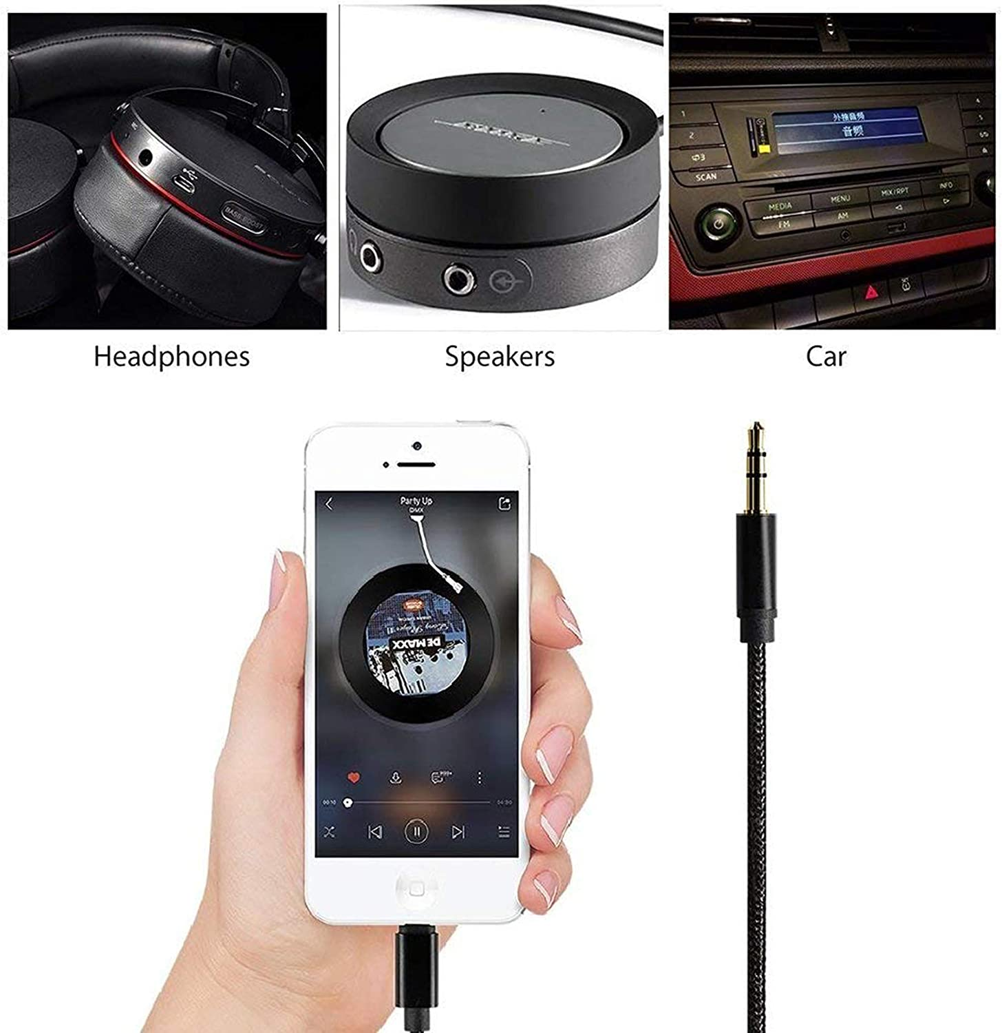 Upgraded Version Aux Cord for iPhone 8 for Car CHOOBY 3.5mm Aux Cable for Car for iPhone X//XR//XS Max//11//11 Pro to Car Stereo Speaker or Headphone Adapter Support iOS 12 Braided Black