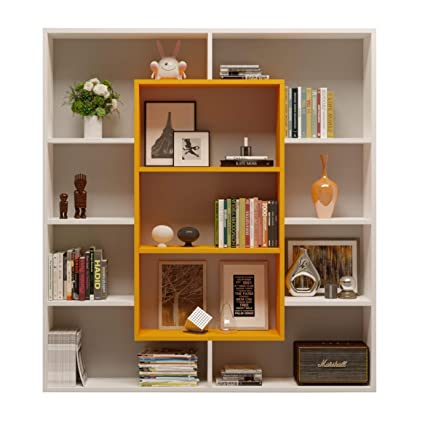HOMIDEA Venus Libreria - Scaffale per Libri - Scaffale per  Ufficio/Soggiorno dal Design Moderno (Bianco/Arancio)