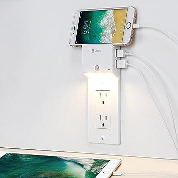 LITEdge - Placa de carga USB dúplex + luz nocturna activada por movimiento + soporte para