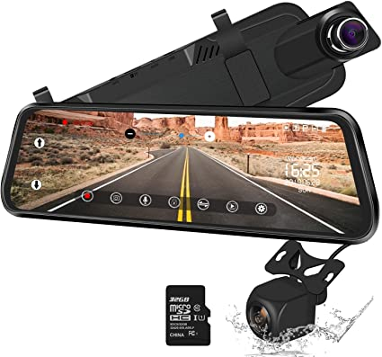 Full Screen 1080P Car Rear View Mirror Camera Streaming Video Dash Cam+32G