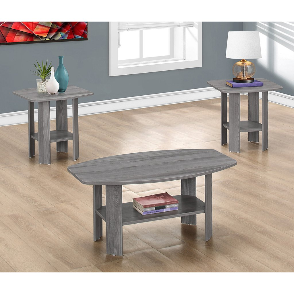 Monarch I 7925P 3 Piece Table Set, Grey by Monarch Specialties (Image #2)