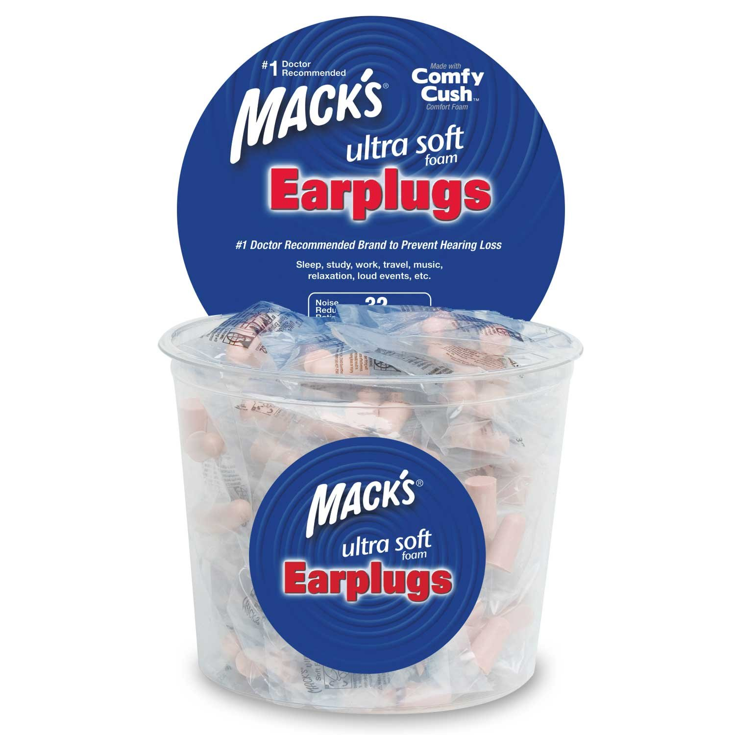Mack's Ultra Soft Foam Earplugs, 100 Pair - Individually Wrapped - 32dB Highest NRR, Comfortable Ear Plugs for Sleeping, Snoring, Work, Travel and Loud Events by Mack's (Image #1)