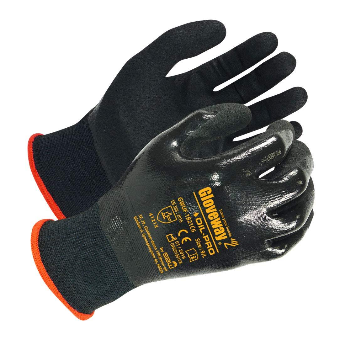 GLOVEWAY Oil Resistant Gloves (3 Pack) - Double Nitrile Fully Coating, Snug Fit, Excellent Grip & Abrasion Resistance, High Dexterity, 18 Gauge Gloves - L Size
