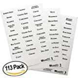 113 Alphabetized Spice Label System: 96 Spice Names + 17 Blank Labels by Talented Kitchen. Clear PVC Sticker and Black Lettering