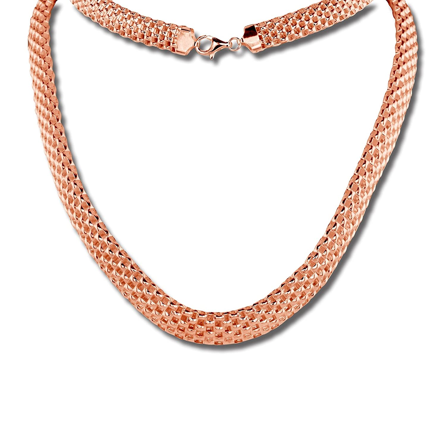 925 Sterling Silver rose gold plated SilberDream Chain wide braid 17.71 inch SDK22045E Sterling Silver 925