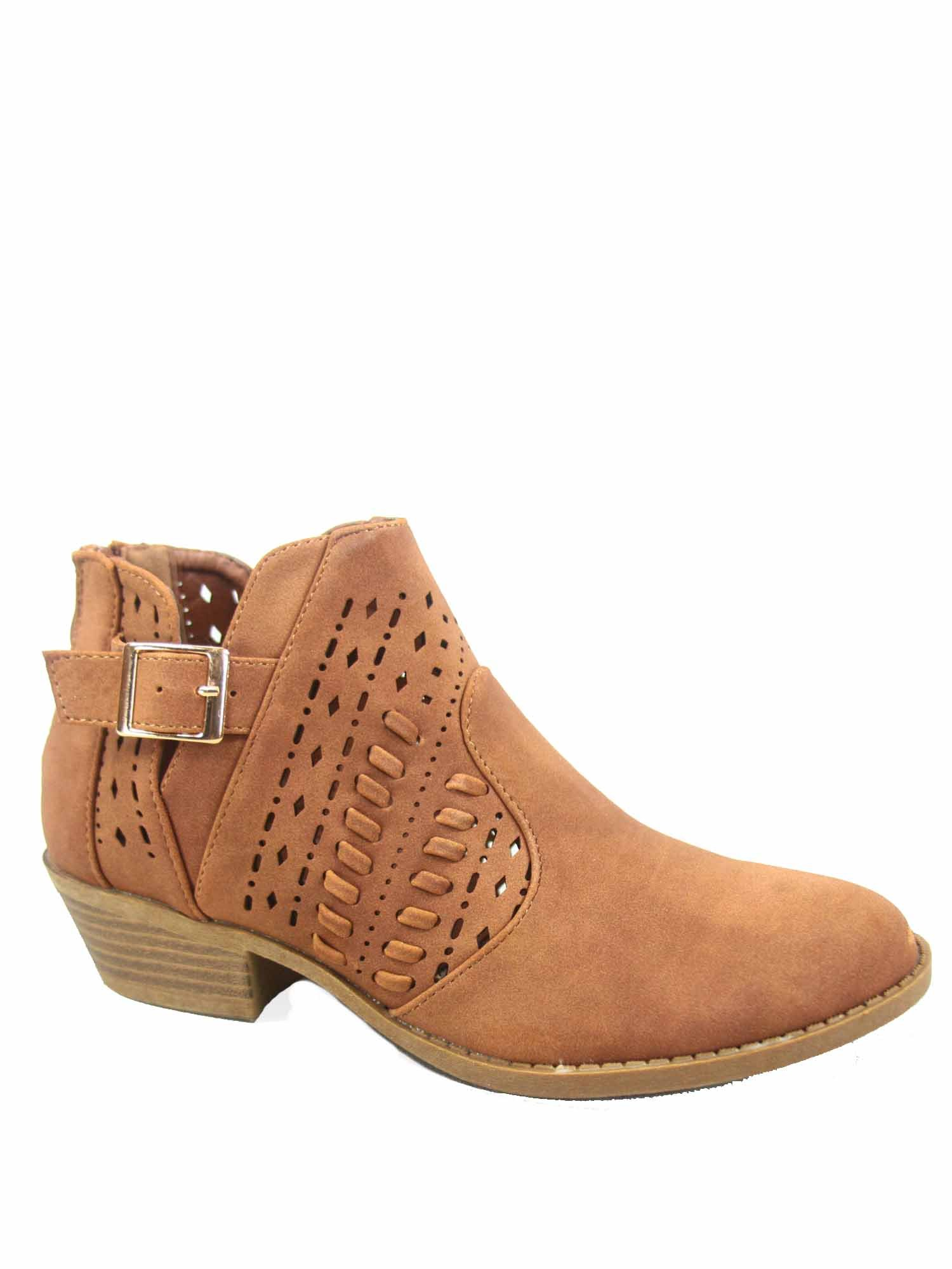 Top Moda Judy-9 Women's Fashion Low Heel Western Zipper Ankle Booties Shoes (6 B(M) US, Tan)