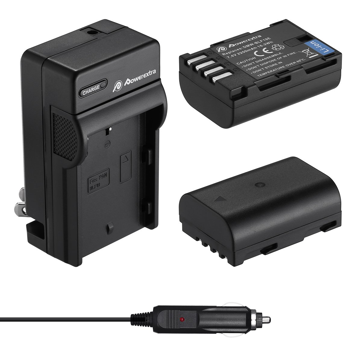 Powerextra 2 Pack High Capacity Replacement Battery and Charger Compatible with Panasonic DMW-BLF19, DMW-BLF19E, DMW-BLF19PP and Panasonic Lumix DC-GH5, DMC-GH3, DMC-GH3K, DMC-GH4, DMC-GH4K