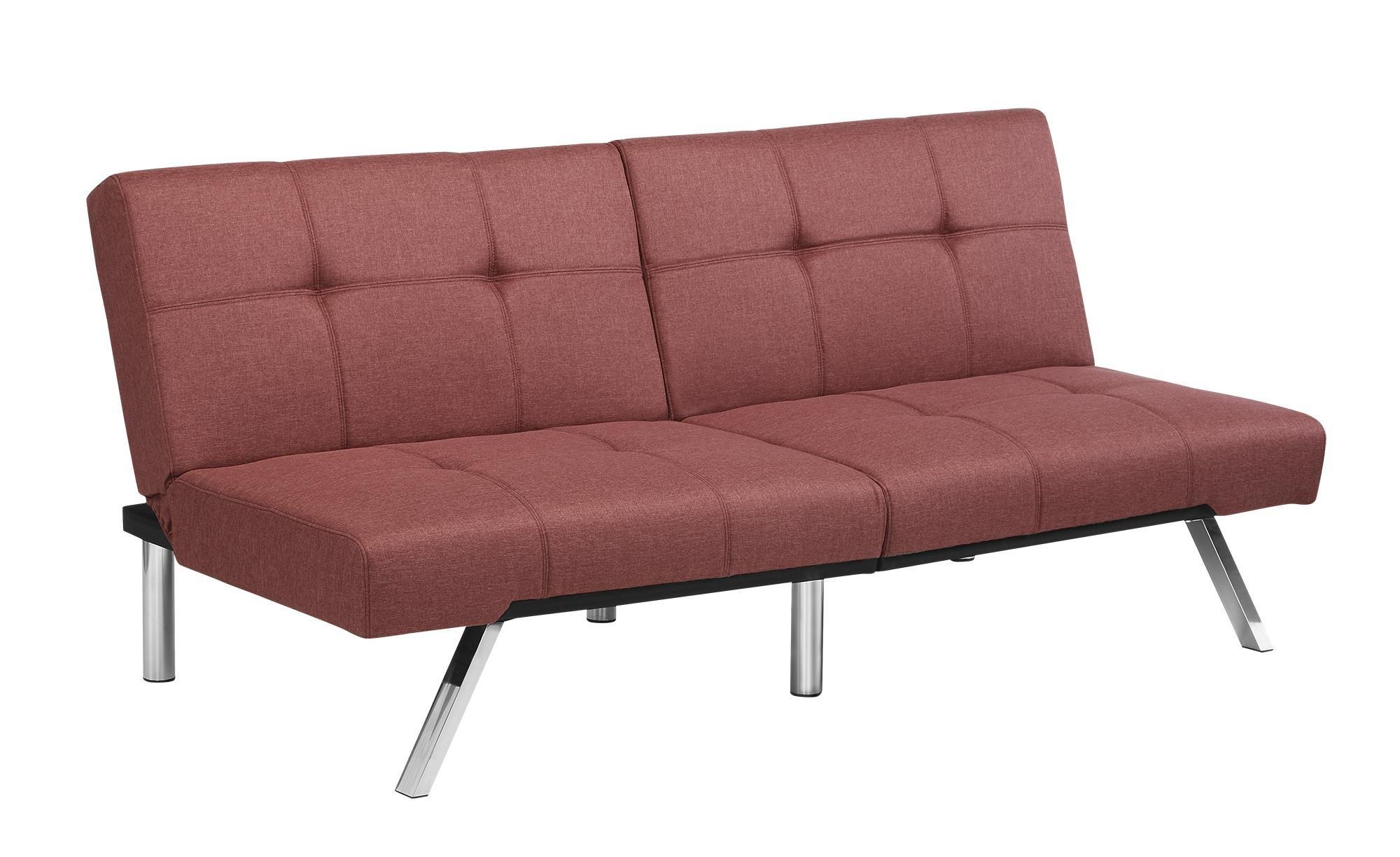 Novogratz Simon Futon Sofa Bed with Chrome Slanted Legs, Mid-Century Modern Design, Rich Marsala Linen by Novogratz