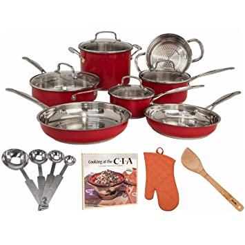 Cuisinart chef de Classic inoxidable de 11 piezas color Series Batería de cocina + libro de recetas, manopla para horno, espátula y más: Amazon.es: Hogar