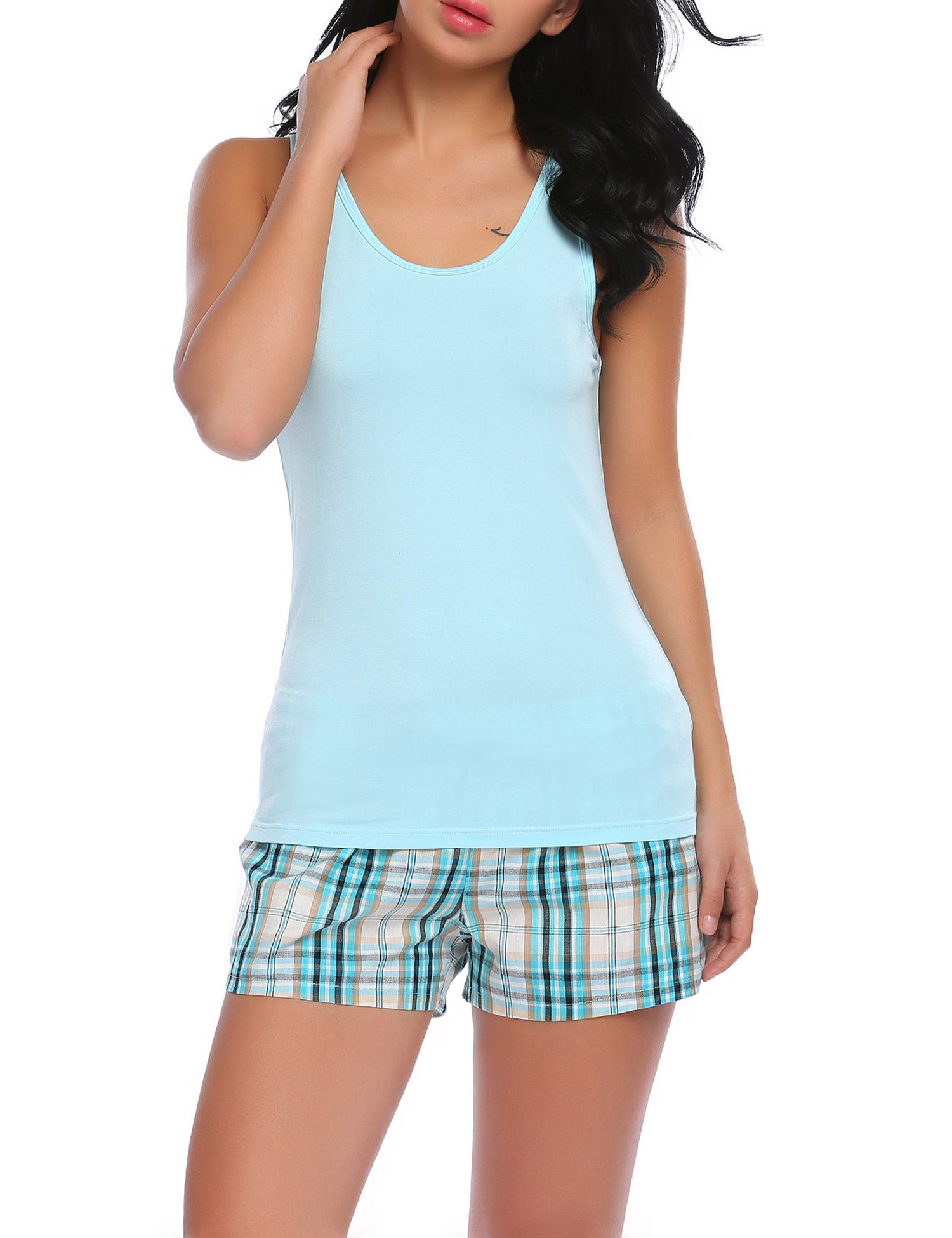 Ekouaer Comfortable Cami Pajama Shorts Set Cotton Sleepwear Two Piece For Women