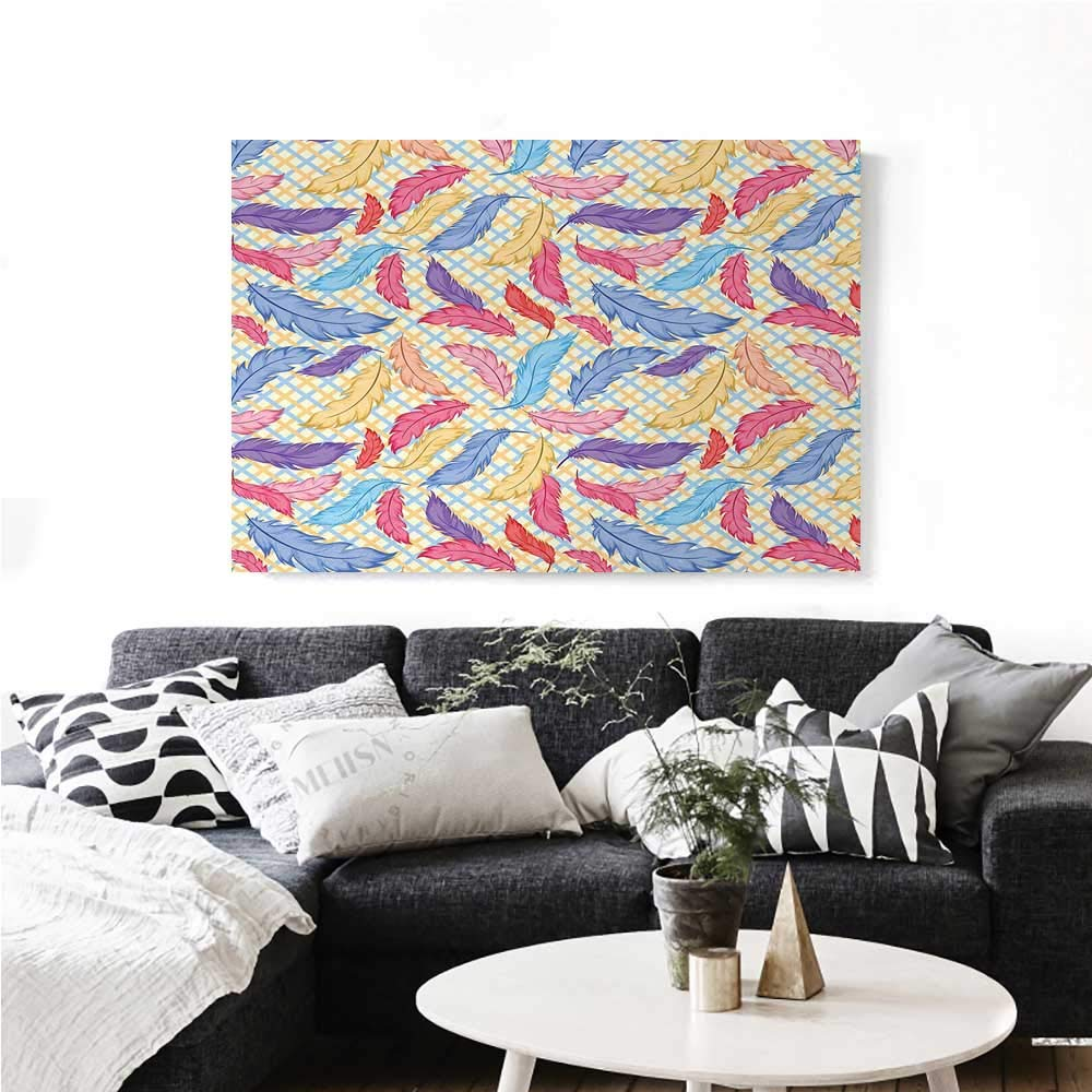 """homehot Colorful Wall Art Canvas Prints Different Vane Feather Figures Types on a Square Shape Striped Backdrop Print Ready to Hang for Home Decorations Wall Decor 28""""x20"""" Multicolor"""
