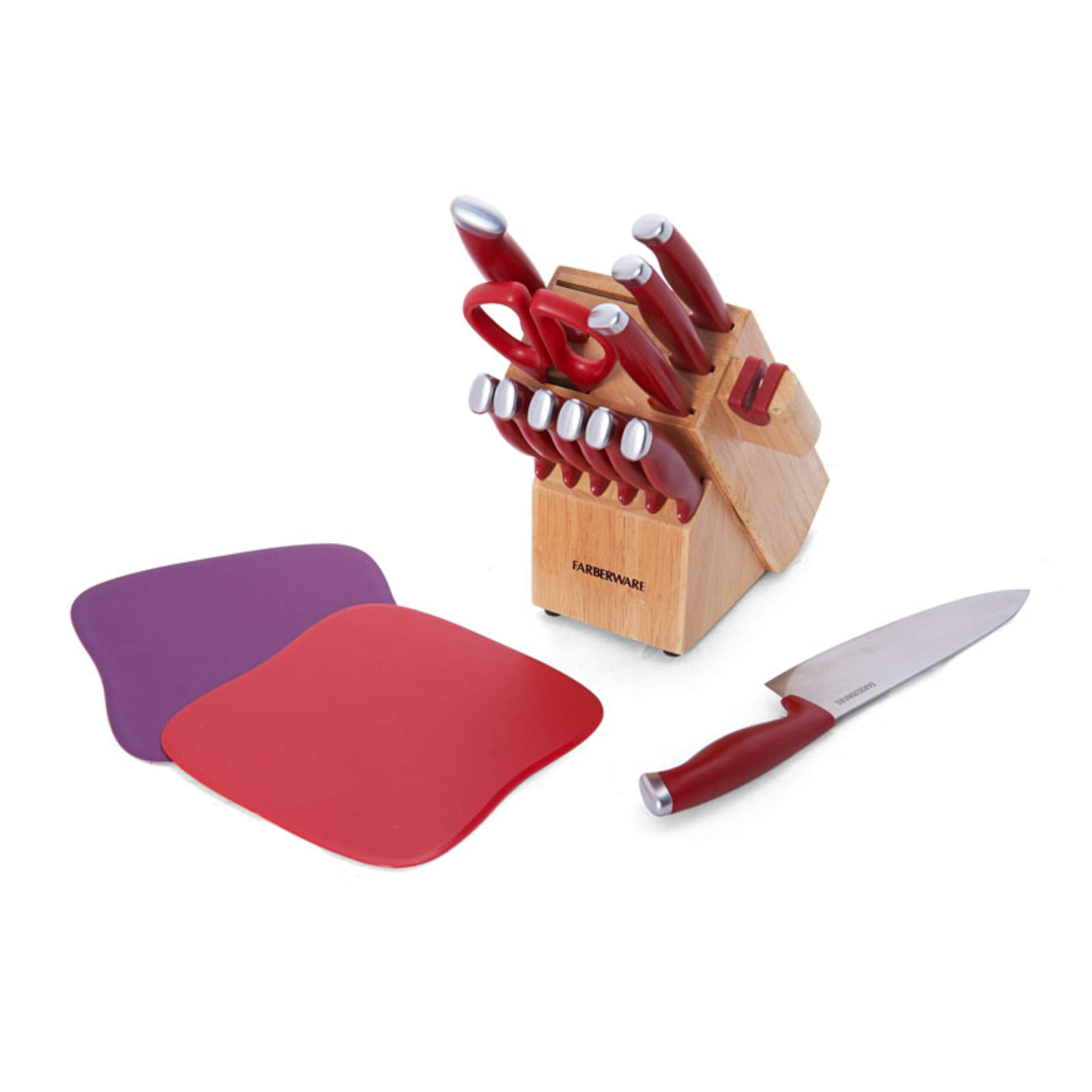Farberware 5217309 Edgekeeper Delrin Cutlery Set, 15-Piece, Red