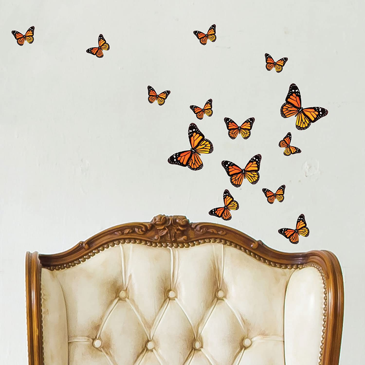 monarch butterfly wall stickers orange amazon co uk kitchen home