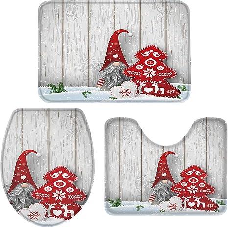 Amazon Com 3 Piece Bath Rug Sets Winter Christmas Gnome Xmas Tree Snowflake Bathroom Mats Set For Christmas Decorations Non Slip Water Absorbent U Shaped Contour Toilet Mat Toilet Lid Cover Home Kitchen