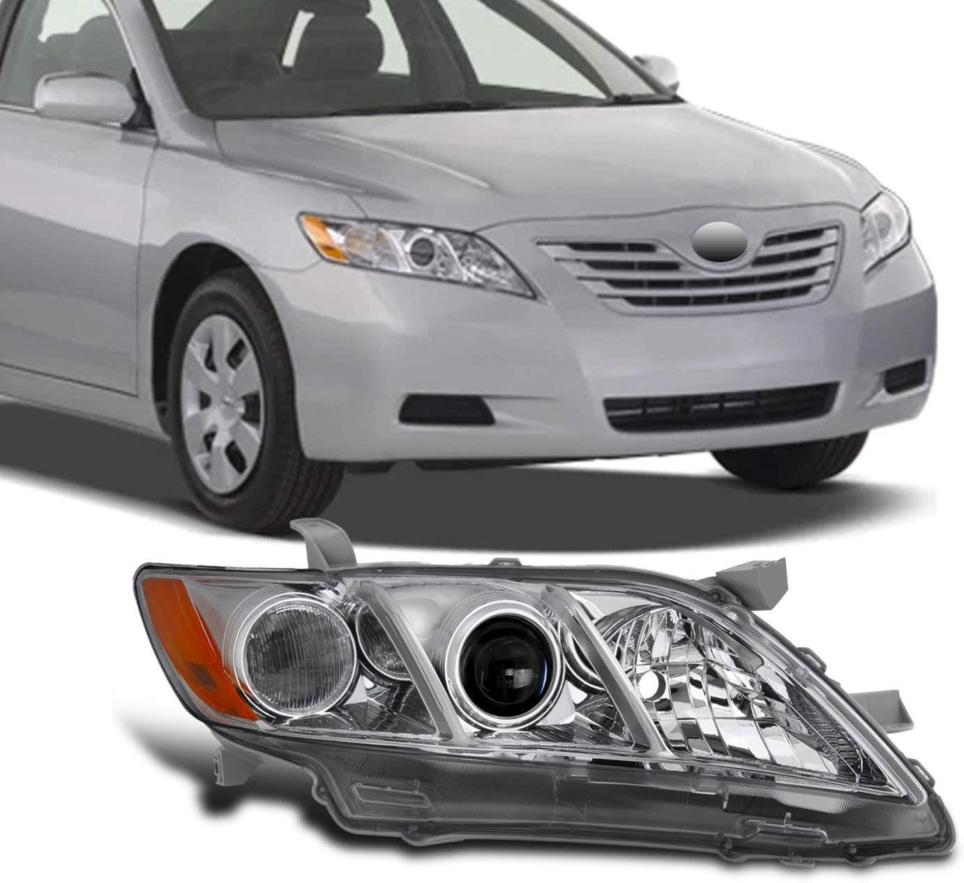 AmeriLite for 2007-2009 Toyota Camry Halogen Type OE Chrome Projector Replacement Headlight Assembly Pair Passenger and Driver Side