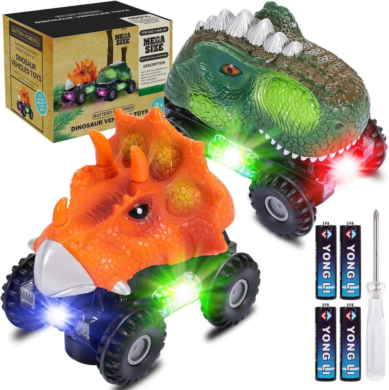 joylink Dinosaurio Coche, 2 Pcs Juguetes de Dinosaurios Coche con Luces LED y Sonido Realista Dinosaurio Juguete Coche Regalos de Cumpleaños para Niños Juguetes para Niñas de 3-8 Años